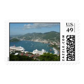 Puerto en las Islas Vírgenes de St Thomas los Timbre Postal