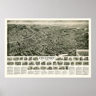 Puerto franco, mapa panorámico de NY - 1925 Póster