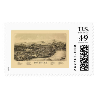 Puerto Henry, mapa panorámico de NY - 1889 Timbres Postales