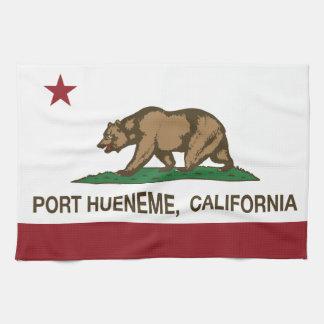 Puerto Hueneme de la bandera del estado de Califor Toallas De Mano