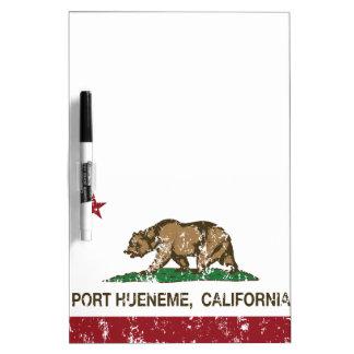 Puerto Hueneme de la bandera del estado de Califor Pizarras Blancas