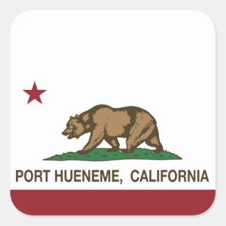 Puerto Hueneme de la bandera del estado de Calcomanías Cuadradass Personalizadas