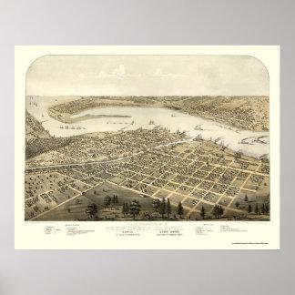 Puerto Huron, mapa panorámico del MI - 1867 Póster