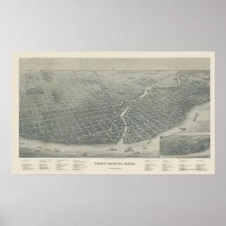 Puerto Huron, mapa panorámico del MI - 1894 Impresiones