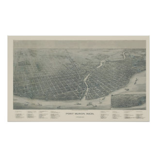 Puerto Huron, mapa panorámico del MI - 1894 Póster