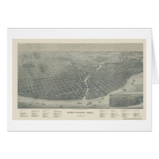 Puerto Huron, mapa panorámico del MI - 1894 Tarjeta De Felicitación