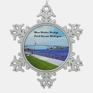 Puerto Huron Michigan Adorno De Peltre En Forma De Copo De Nieve
