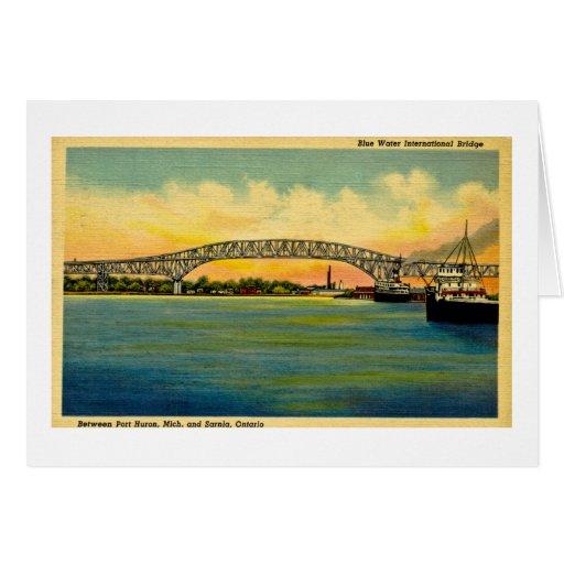 Puerto Huron Michigan del puente de Bluewater Felicitación