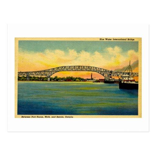 Puerto Huron Michigan del puente de Bluewater Tarjetas Postales