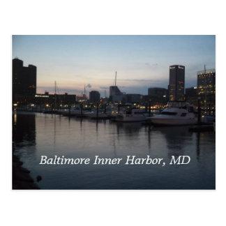 Puerto interno de Baltimore en la noche Tarjeta Postal
