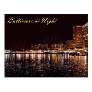 Puerto interno de Baltimore en la noche Tarjetas Postales