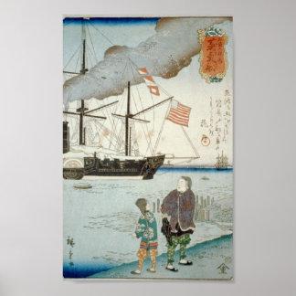 Puerto japonés con el poster americano del buque d póster