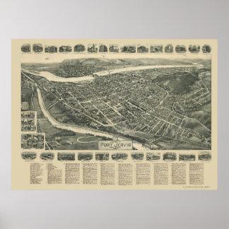 Puerto Jervis mapa panorámico de NY - 1920 Posters