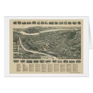 Puerto Jervis mapa panorámico de NY - 1920 Felicitación