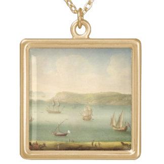 Puerto Mahon, Minorca, 1730's (aceite en lona) Colgante Cuadrado