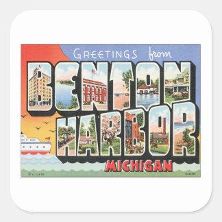 Puerto Michigan de Benton del vintage Pegatina Cuadrada