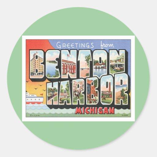 Puerto Michigan de Benton del vintage Pegatina Redonda