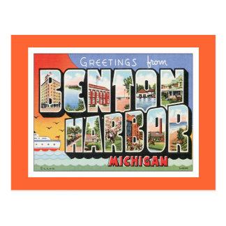Puerto Michigan de Benton del vintage Postal