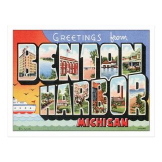 Puerto Michigan de Benton del vintage Postales