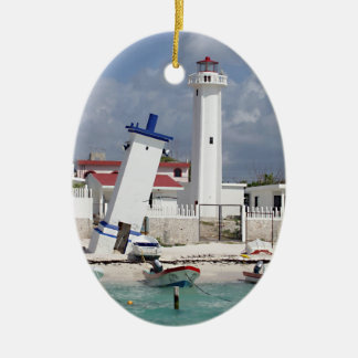 Puerto Morelos Lighthouse Ceramic Ornament