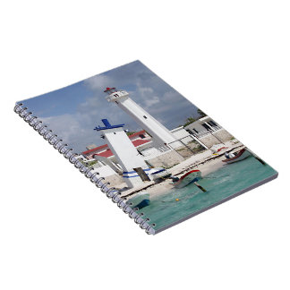 Puerto Morelos Lighthouse Spiral Note Books