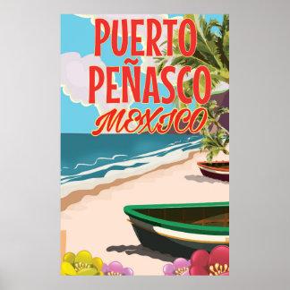 Puerto Peñasco Beach Mexico travel poster