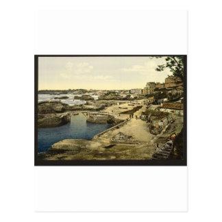 Puerto pesquero, Biarritz, los Pirineos, Francia Postal