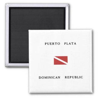 Puerto Plata Dominican Republic Scuba Dive Flag 2 Inch Square Magnet