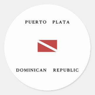 Puerto Plata Dominican Republic Scuba Dive Flag Round Sticker