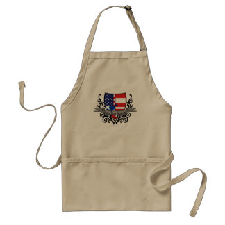 Puerto Rican-American Shield Flag Adult Apron
