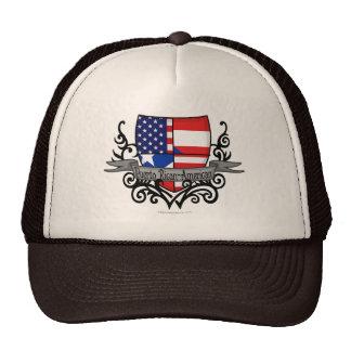 Puerto Rican-American Shield Flag Mesh Hats
