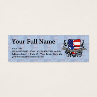 Puerto Rican-American Shield Flag Mini Business Card