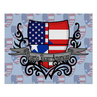Puerto Rican-American Shield Flag Poster