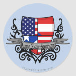 Puerto Rican-American Shield Flag Round Stickers