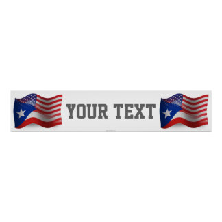 Puerto Rican-American Waving Flag Banner Poster