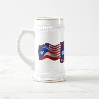 Puerto Rican-American Waving Flag Beer Stein