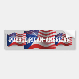 Puerto Rican-American Waving Flag Car Bumper Sticker
