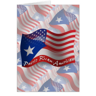 Puerto Rican-American Waving Flag Card