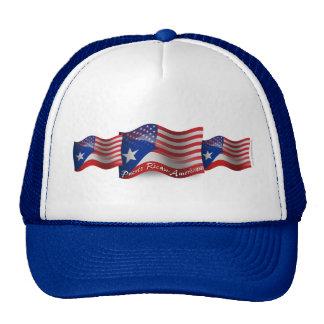 Puerto Rican-American Waving Flag Mesh Hats