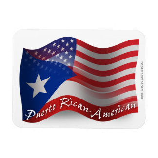 Puerto Rican-American Waving Flag Magnet