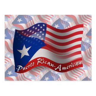 Puerto Rican-American Waving Flag Postcard