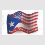 Puerto Rican-American Waving Flag Rectangular Stickers