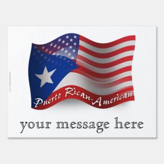 Puerto Rican-American Waving Flag Lawn Signs