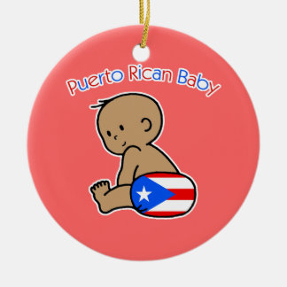 Puerto Rican Baby Double-Sided Ceramic Round Christmas Ornament