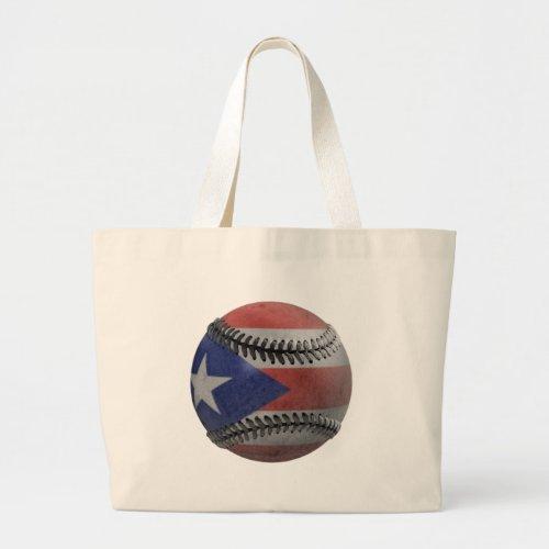 Puerto Rican Baseball Large Tote Bag