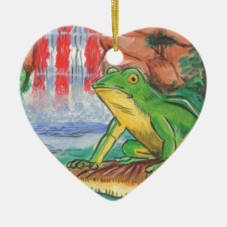 Puerto Rican Coqui Frog Water Fall Hand Painted Ni Ceramic Ornament