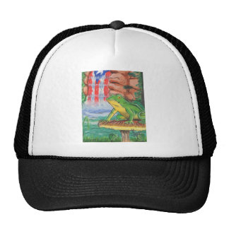 Puerto Rican Coqui Frog Water Fall Hand Painted Ni Trucker Hat