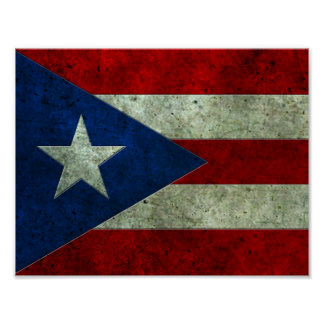 Puerto Rican Flag Aged Steel Effect Poster