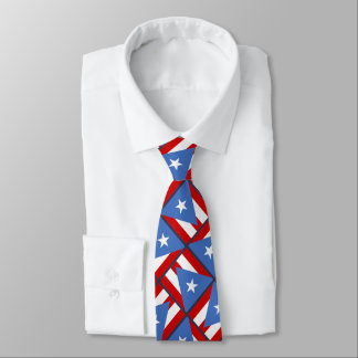 Puerto Rican Flag Bold Cool Pattern Double Sided Neck Tie