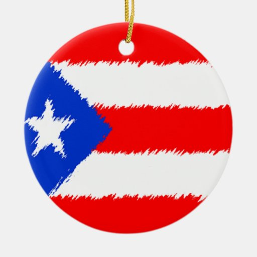 Puerto Rican Flag Double-Sided Ceramic Round Christmas